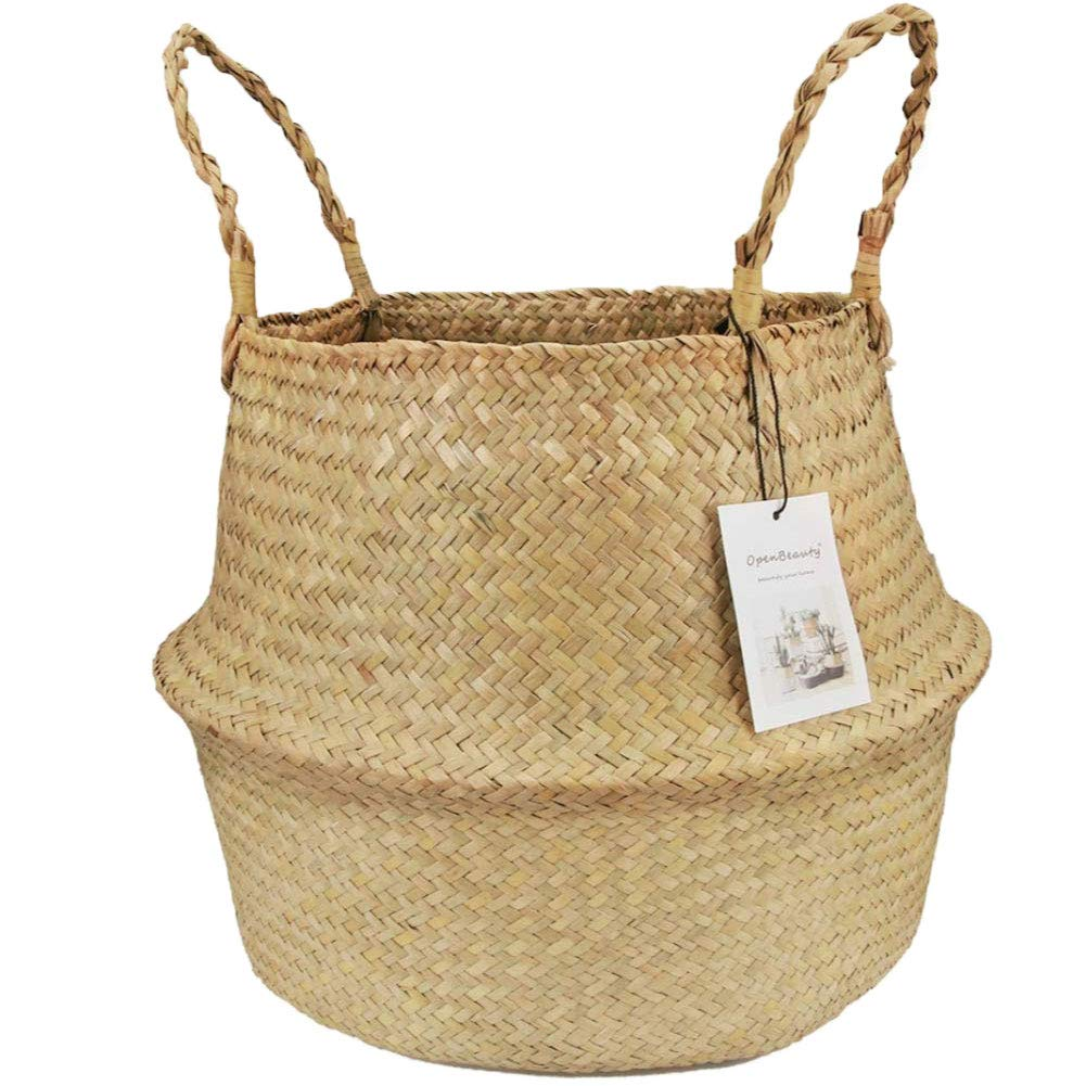 dezirZJjx Seagrass Weaving Belly Basket, Foldable Home Storage Bucket for Toy Sundries Clothes,Plants Basket with Handles White S