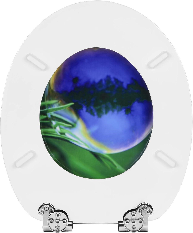 eSituro STS0199 Abattant WC en MDF Couvercle de Toilette Fonction softclose Si/ège de Toilette Couvercle de WC en MDF Charni/ères en Zinc chrom/é
