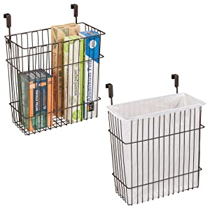 mDesign Metal Wire Hanging Over Door Kitchen Storage Organizer Basket/Trash Can - Hangs Over Cabinet Doors - For Bags, Tin Foil, Wax Paper, Saran Wrap - Solid Steel - 2 Pack - Bronze