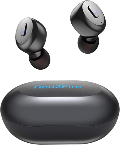 True Wireless Earbuds with Immersive Sound, Red2Fire in-Ear Stereo Bluetooth Earbuds with Charging Case, Auto Pairing 30H Playtime Deep Bass Built-in Mic Earphones for Sports,Workout,Gym Black