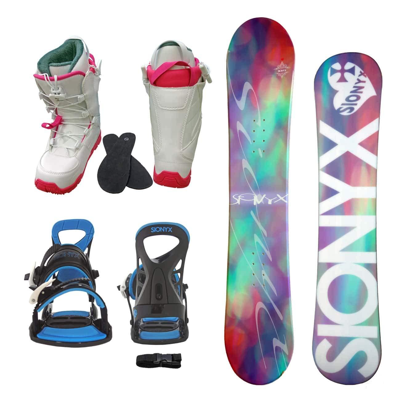 SIONYX レディース スノーボード3点セット スノボー+バインディング+クイックシューレースブーツ BELLA B07JJFRDMH ボード 144+boots 25.0|ボード ピンク+binding ブルー+boots ホワイト ボード ピンク+binding ブルー+boots ホワイト ボード 144+boots 25.0