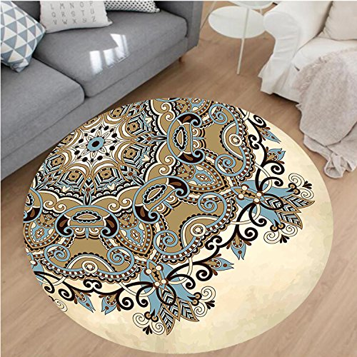 Nalahome Modern Flannel Microfiber Non-Slip Machine Washable Round Area Rug-nic Indian Flower Circle on Lace Ornaments Traditional Boho Design Cream Cocoa Light Blue area rugs Home Decor-Round 24