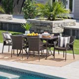 Doris Outdoor 7 Piece Multi-Brown Wicker Dining Set with Foldable Table and Stacking Chairs