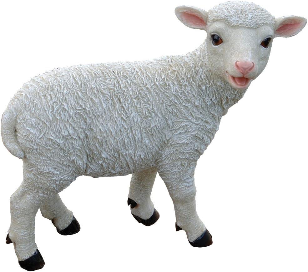 Design Toscano Standing Yorkshire Lamb Garden Farm Animal Statue, 15 Inch, Polyresin, Full Color