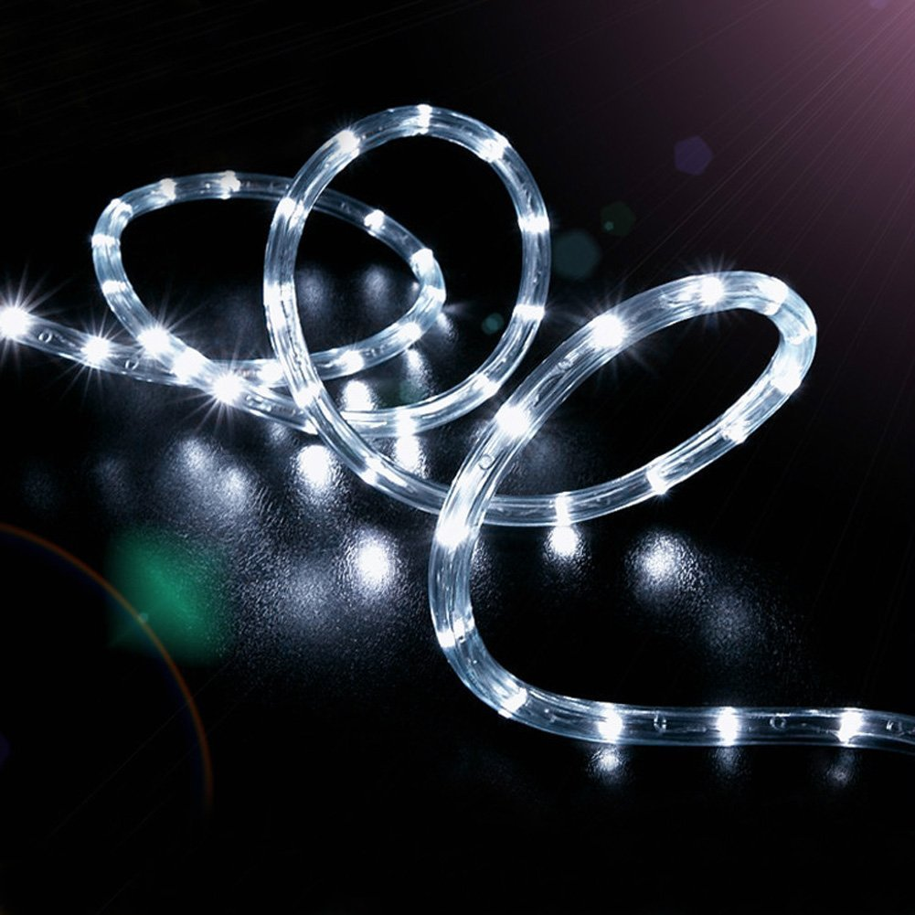 100LED Ruban Lumineux Solaire Lampes de Corde,KINGCOO étanche 39ft 12M Fil de Cuivre Extérieur Tube Rope Guirlande Lumineuse pour Noël Jardin cour Chemin Clôture Arbre Backyard (Blanc)