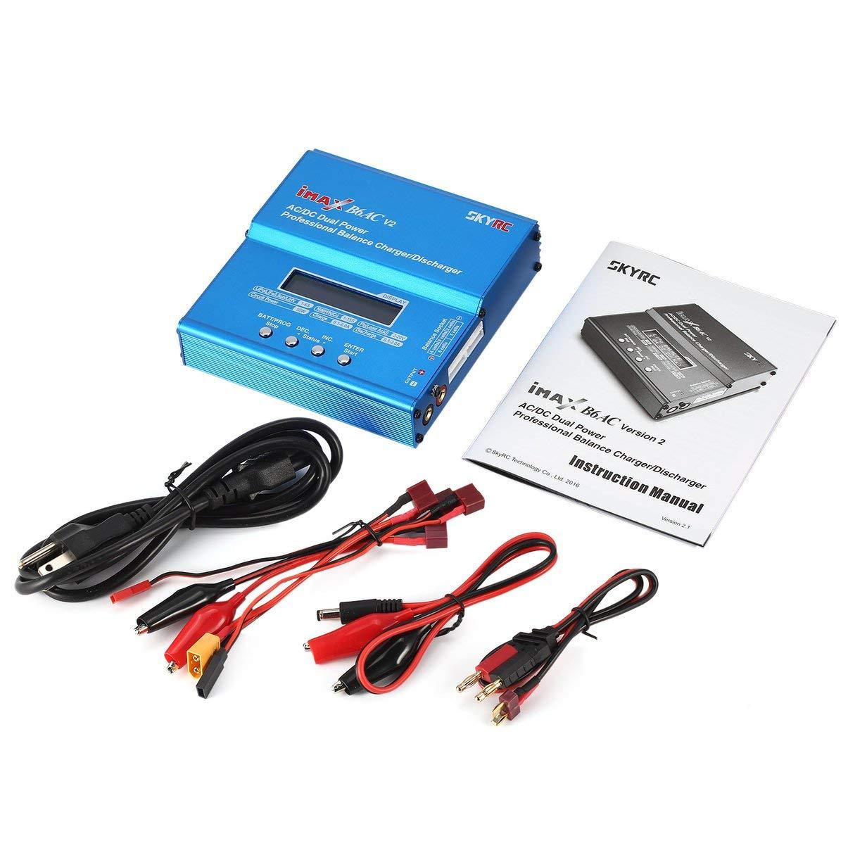 JullyeleDEgant SKYRC iMAX B6AC V2 6A 50 Watt Wechselstrom Ladegerät / Entlader für Lipo NiMH Pb Waage mit Adapter LCD Anzeige für RC Car Drone Hubschrauber