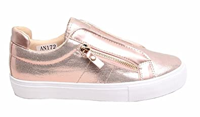 174ca8b0cd47 shelikes New Womens Glossy Sport Slip On Sneaker Pumps Shoes-Champagne-UK  4  Amazon.co.uk  Shoes   Bags
