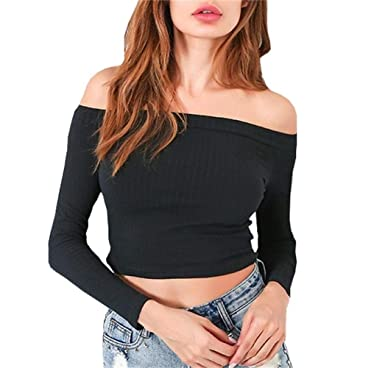 67f20bbdfe3 Artfish Women Off Shoulder Long Sleeve Rib-Knit Crop Top Slim Fit Tee Tube  Tops for Summer at Amazon Women's Clothing store: