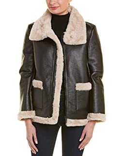 2785f9593fddae Vince Camuto Women's Long Sleeve Pleather Shearling Trimmed Jacket