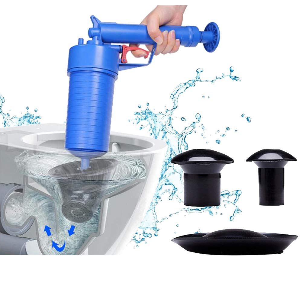 High Pressure Air Drain Buster Pipes Blaster Sewer Drain Unblocker Toilet Clogged Dredger Tool for Kitchen Toilet Plunger with 4 Suckers Floor Drain Bathroom Bathtubs Sink