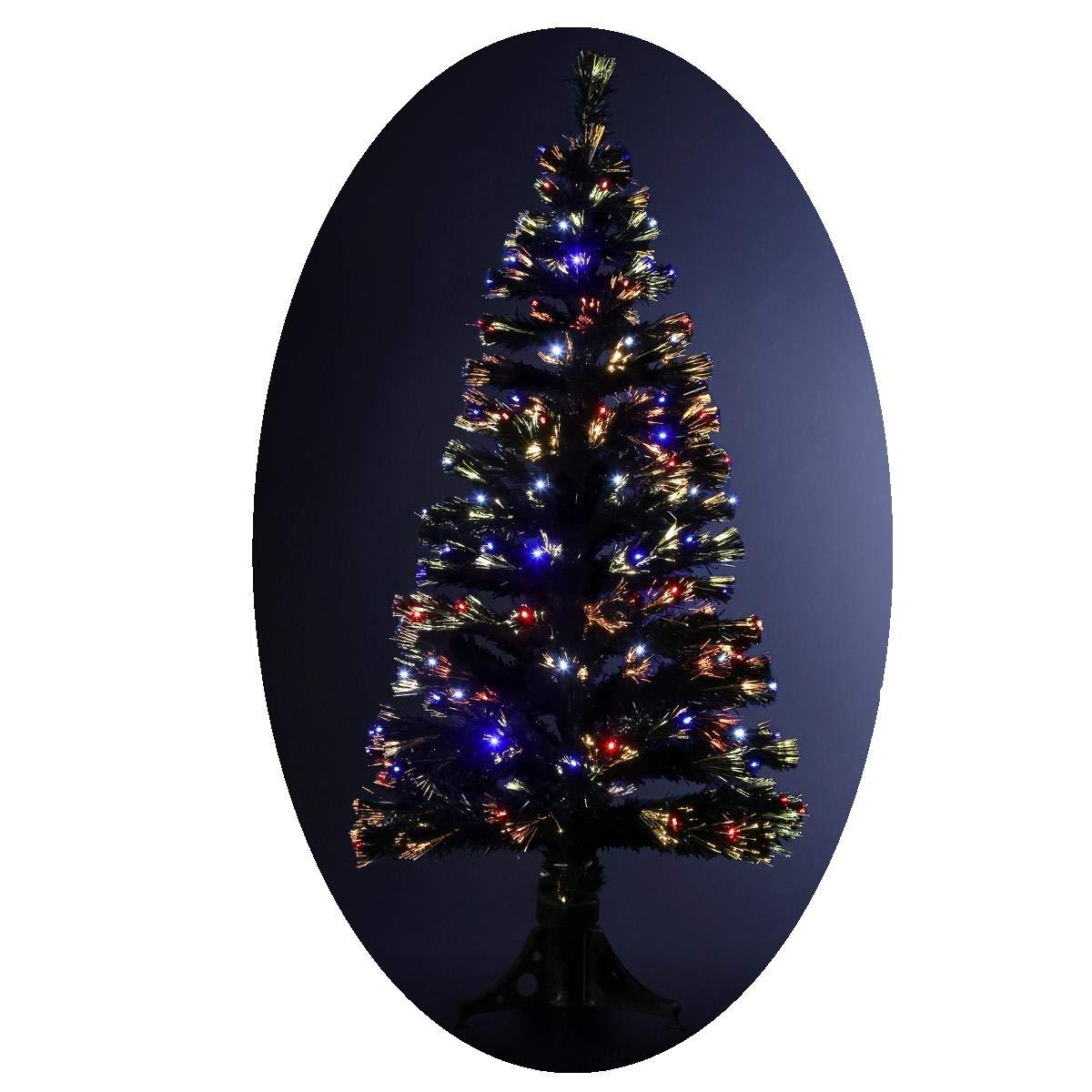Albero di Natale artificiale luminoso con fibra ottica + 170 lampadine LED – Giochi di luce con scatola di controllo - consegnato col piede – Altezza: 150 cm FEERIC LIGHTS & CHRISTMAS