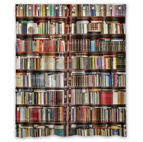 Custom Neat BookshelfLibrary Waterproof Polyester Fabric Bathroom Shower Curtain 60quot