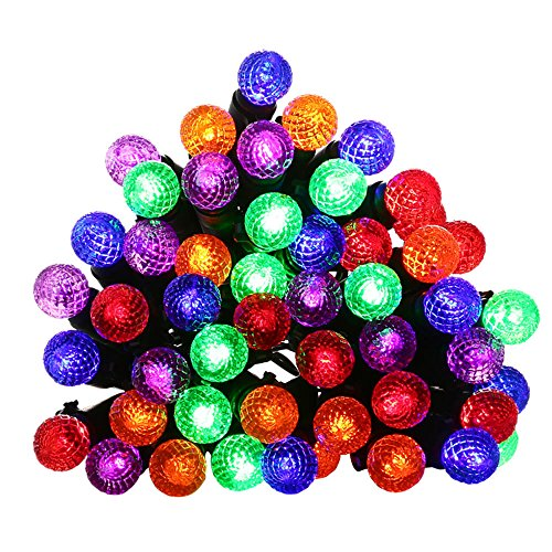 Qedertek G12 Battery Christmas Lights, 50 LED 13.1ft Xams Ball Lights String with Timer, 8 Modes Globe Fairy Lights for Indoor&Outdoor, Home, Garden, Patio, Lawn and Party Decorations(Multi Color) - C 6 Christmas Light