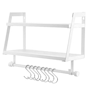 Kakivan 2-Tier Floating Shelves Wall Mount for Kitchen Spice Rack with 8 Hooks Storage, White Wood Wall Shelf Organizer for Bathroom Décor with Towel Bar.