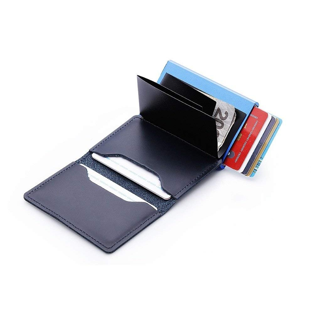 GingkoTree Credit Card Holder RFID Blocking Slim Wallet PU Leather Double Aluminum Business Card Holder Automatic Pop-up Card Case Security Travel Wallet