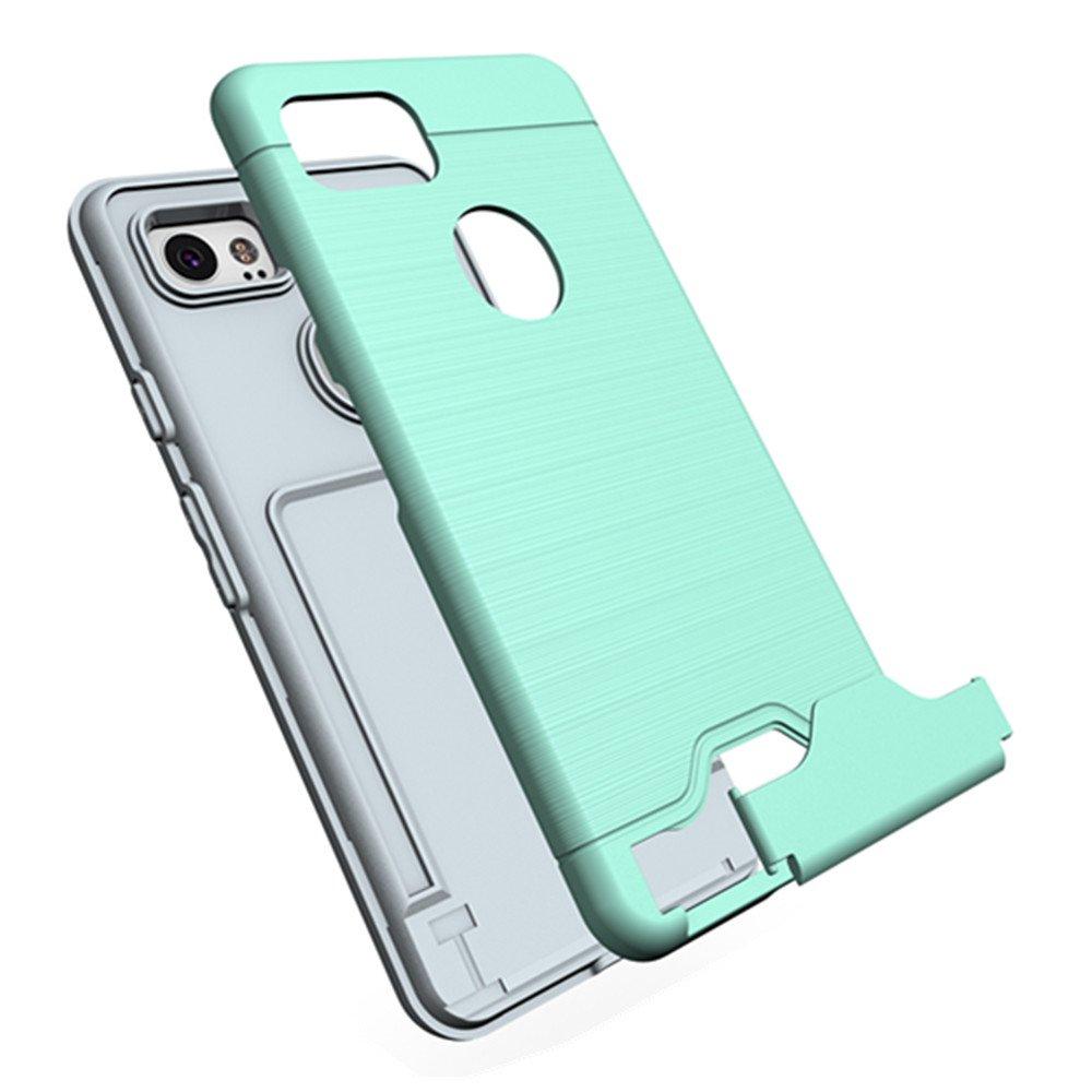 Google Pixel 2 Case, KAMII [Card Slot Holder] Shockproof Slim Fit Dual Layer Hybrid Wallet Case Protective Hard Cover Skin Card Holder with Built-in Kickstand for Google Pixel 2 (2017) (Aqua) by KAMII (Image #5)