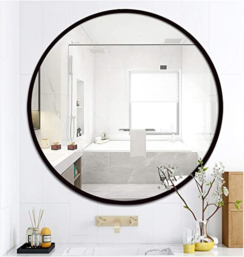 LOIGYUR Wall Round Mirror 36 Inch Black Metal Frame Circle Mirror for Shower, Bathroom or Living Room 36 Inch, Black