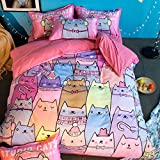 MeMoreCool Children Cartoon Cats AB Version Reactive Printing Bedding Sets Polyester with Good Hand Feelings Flat Twin Home Textiles