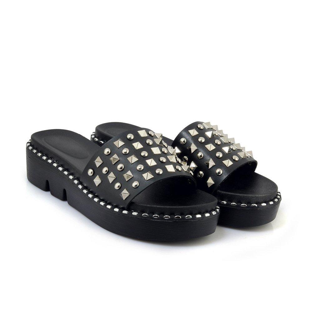 Sandales décontractées pour Femmes, Pantoufles Chaussures Noir à Talons, Chaussures Pantoufles Noir 945758b - latesttechnology.space