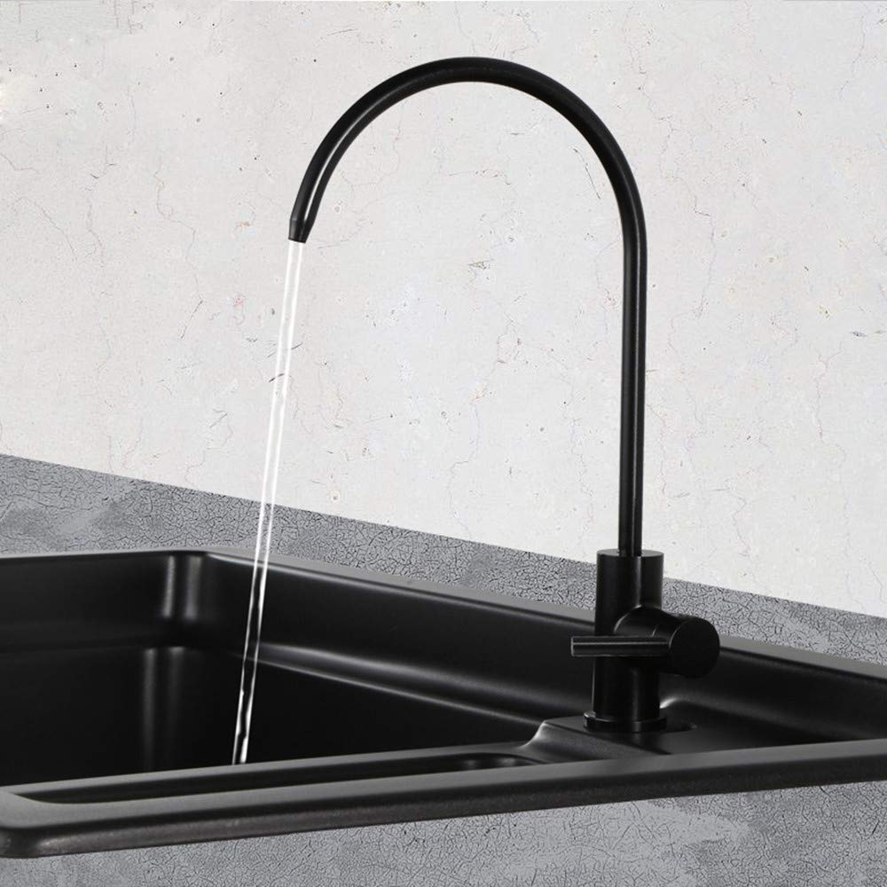 Zhcmy Faucet Black Water Straight Drinking Faucet Stainless Steel Kitchen Sink Drinking Water Pure Water Basin Faucet