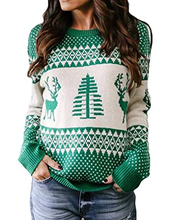 GRMO Women Knitted Round Neck X-Mas Pullover Jacquard Sweater at Amazon  Women s Clothing store  28cdf7577a15