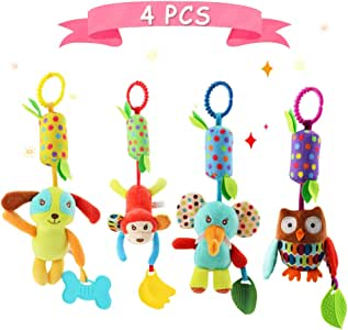 Daisy 4 PCS Stroller Toy Set Car Seat Hanging Bell Soft Plush Animal Wind Chime Toys for Baby Girls and Boys