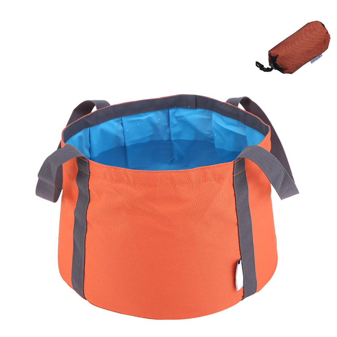 ALXDR Foldable Washbasin Outdoor Water Bucket For Camping Travel Multi-Purpose Water Storage Pure Color Motion Style Pail PEVA Waterproof, Larger Capacity, 10L,Orange