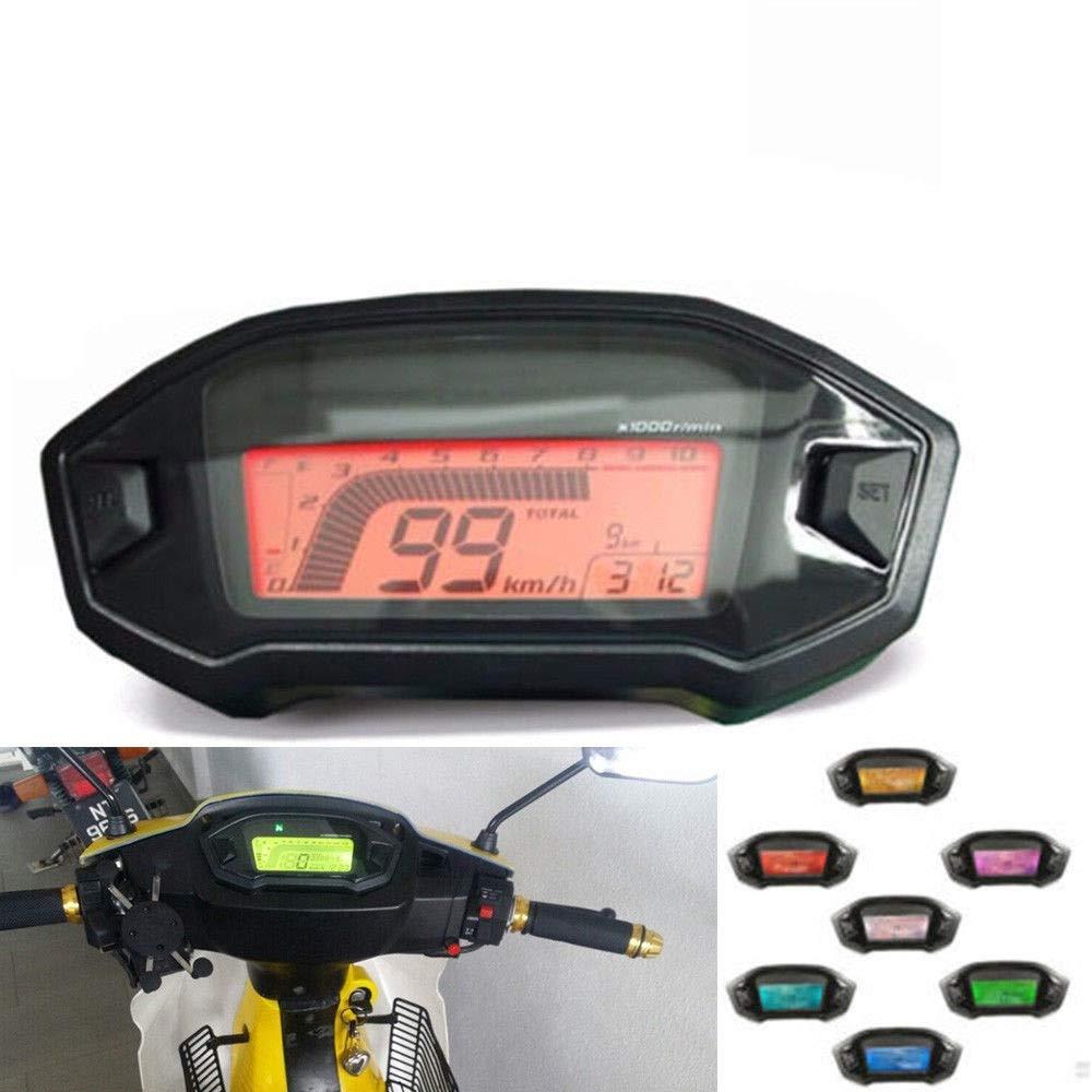 13000rpm Universal Digital Colorful LCD Speedometer Odometer Tachometer W//Speed Sensor for 2,4 Cylinders meter Backlight Motorcycle Odometer