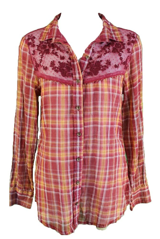 Free People Women's India Gauze Plaid Saddle Up Button-Down Pomegranate Combo SM (Women's 4-6)
