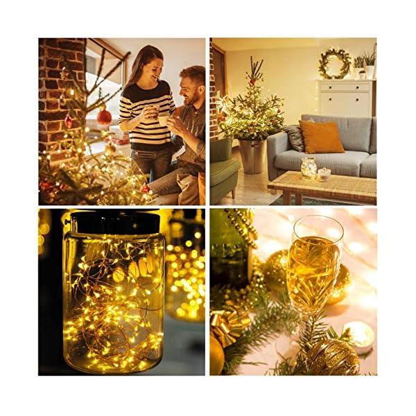 Kolpop Stringa Luci LED a Batteria [4 Pezzi], Catena Luminosa 5m 50 LED con Filo Rame Ghirlanda Luminosa Lucine LED Decorative per Camere da Letto Giardino Casa Feste Natale Matrimonio (Bianco Caldo) 6 spesavip