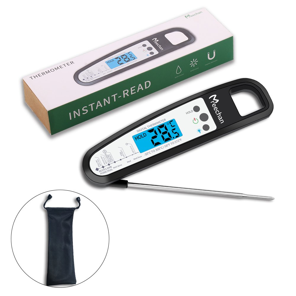 Digital Meat Thermometer, Mreechan Food Cooking Thermometer with Long Probe LCD Backlit, Instant Read Electronic Multi-functional Waterproof Kitchen Thermometer for BBQ, Grill, Poultry, Milk -(black)