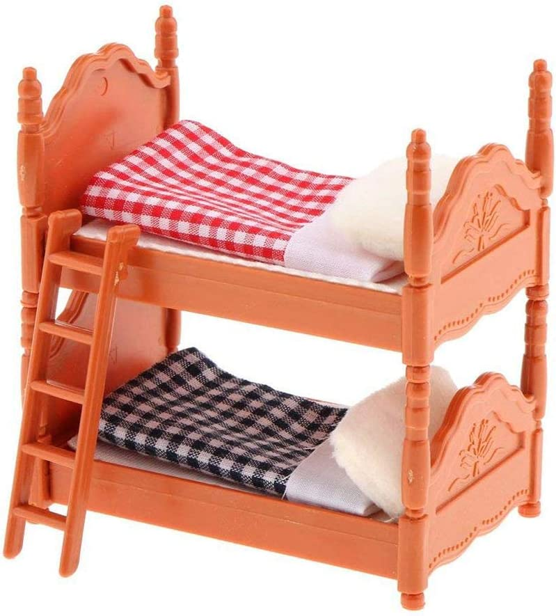 Juguete de plástico literas con escalera de cama Ensamblaje desmontable Cama de muebles de casa de muñecas - wetour: Amazon.es: Bebé