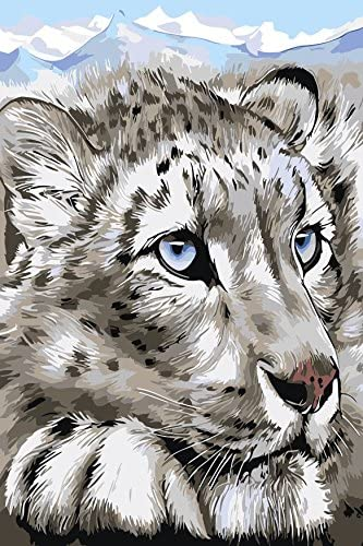 """16X20/"""" Snow Leopard DIY Paint By Number Kit Paint On Canvas Arylic Oil Painting"""