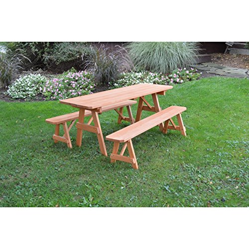 Kunkle Holdings LLC Picnic Table with Detached Benches - Pressure Treated Pine in Cedar Stain 4 feet 4 - Treated Pressure Table Picnic