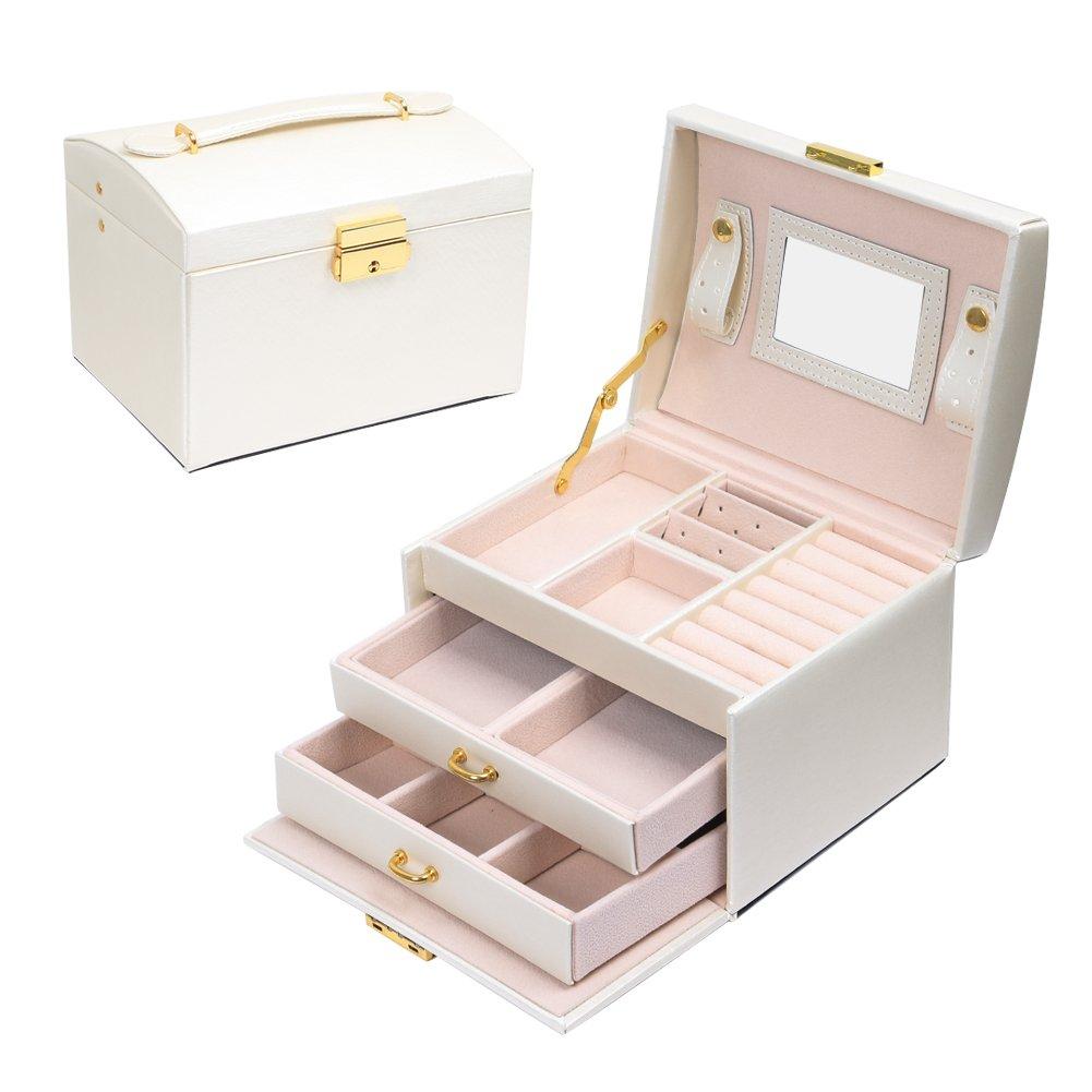 Schmuckkästchen, MeeRVeIL  Kosmetikkoffer mit 3 Ebenen, PU Leder, Abschließbarer Schmuckkasten mit Spiegel, Geschenk für Mädchen und Damen,Perlweiß