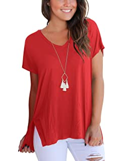 b7bcd95aa50bd Womens Short Sleeve Casual T Shirt Loose Basic Tee Tops With High Low Side  Split