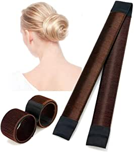 [3 PACK] Hair Bun Maker Tool, TERSELY French Twist Donut Maker Easy Perfect Bun for Women Girls, DIY Hair Bun Tool Making Hair Styling For Ballet, Wedding, Yoga, Dancing, Party (Brown)