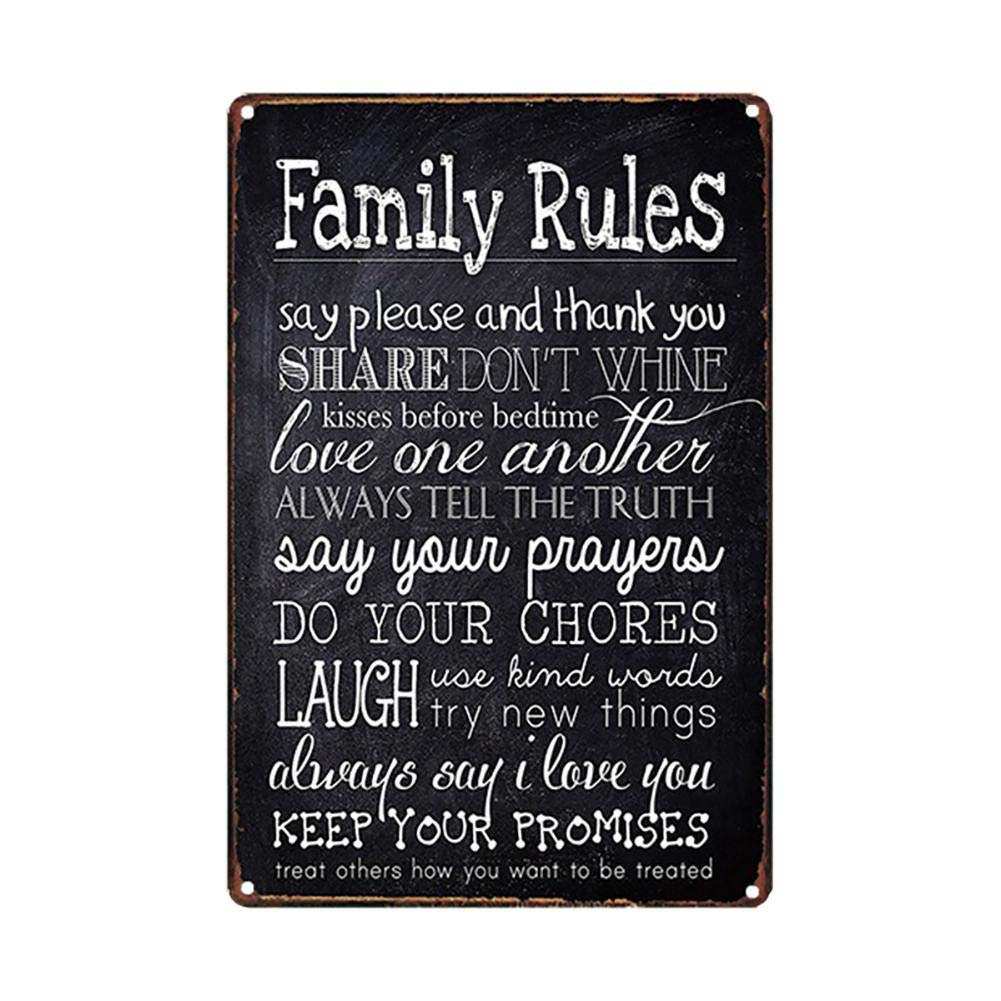 Lumanuby. 1 Cartel Vintage de Palabras Completas de Family Rules ...