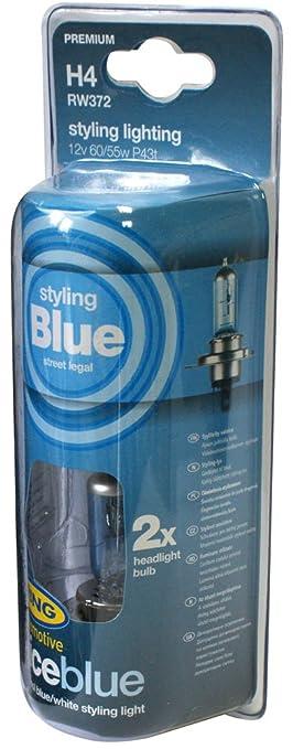 RING RW372 2 bombillas azules homologadas H4 12 V-60/55W Blue Ice
