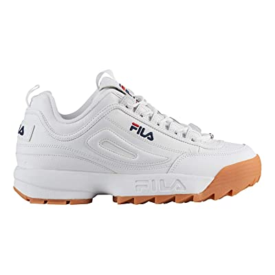 Fila Mens Disruptor II Premium Low Top Lace Up, White/Navy/Gum, Size 11.0 | Fashion Sneakers