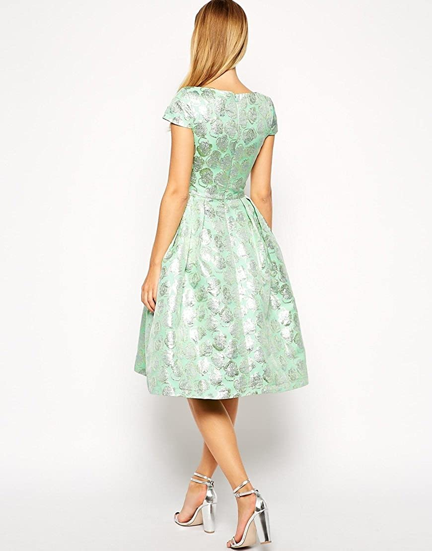 ASOS Deep Plunge Metallic Prom Dress in green UK 12: Amazon.co.uk: Clothing