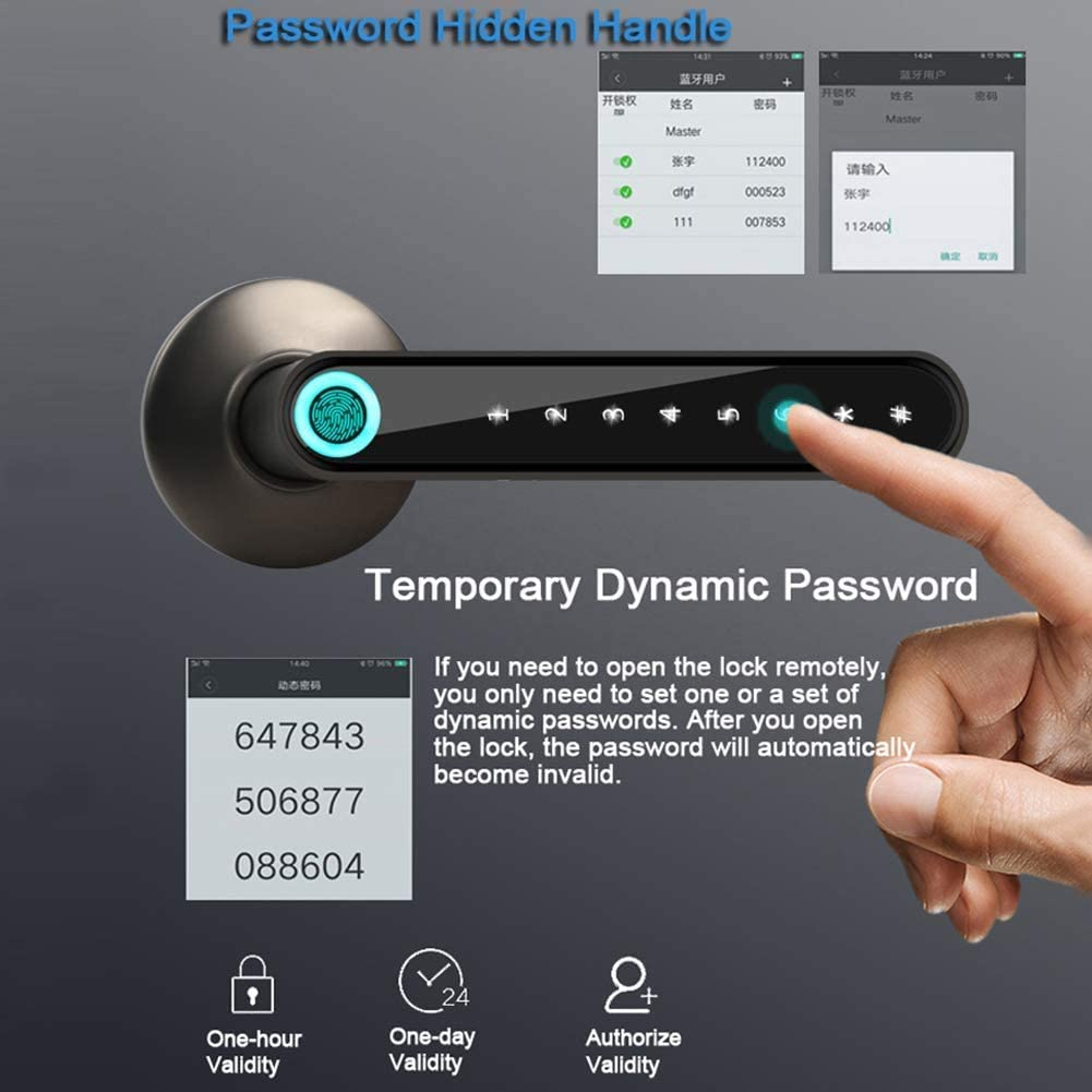 Xigeapg Fingerprint Smart Lock Biometrische Automatische Entsperrung App Keyless Entry T/üRschloss f/ür Zuhause//Hotel//Apartment