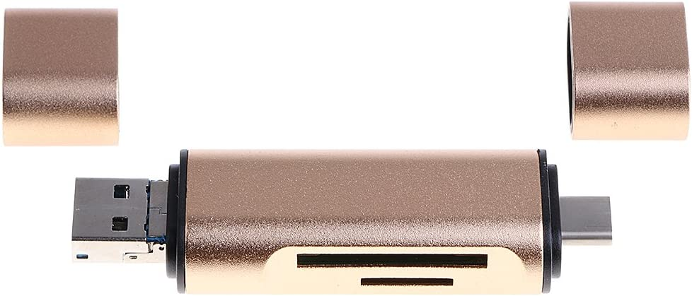 USB C//USB 3.0// Micro-USB Adapter for PC Tablet Gold SD//TF Card Reader