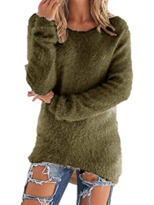 Women Winter Long Sleeve Pullover Fuzzy Sweater Shirt Loose Blouse Jumper Tops