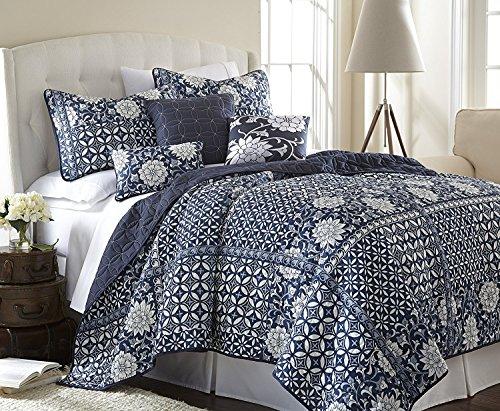 Price comparison product image Amrapur Overseas   Zion 6-Piece Reversible Floral Microfiber Quilt Set (Queen)