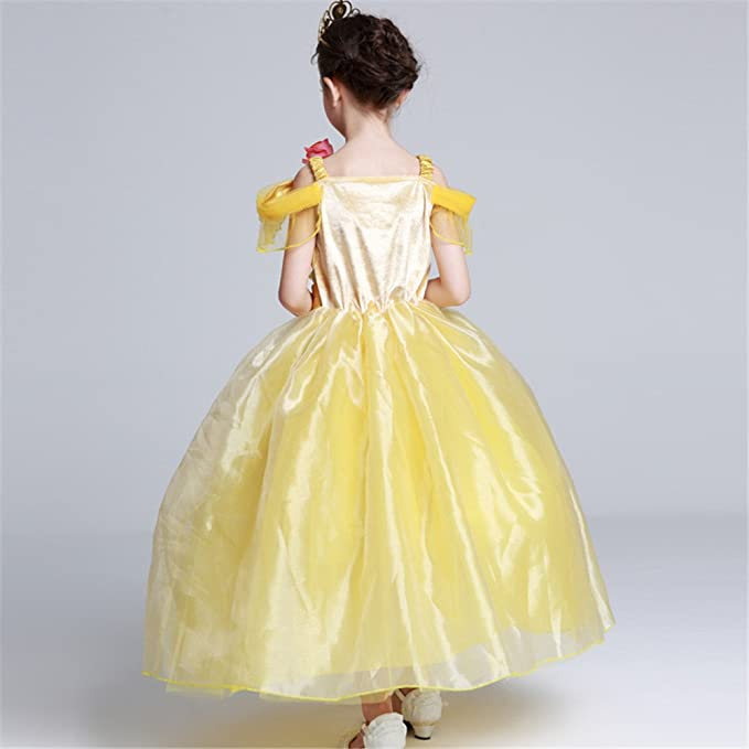 Amazon.com: YaphetS Princess Belle Costume Girls Birthday Party Dress with Accessories: Clothing