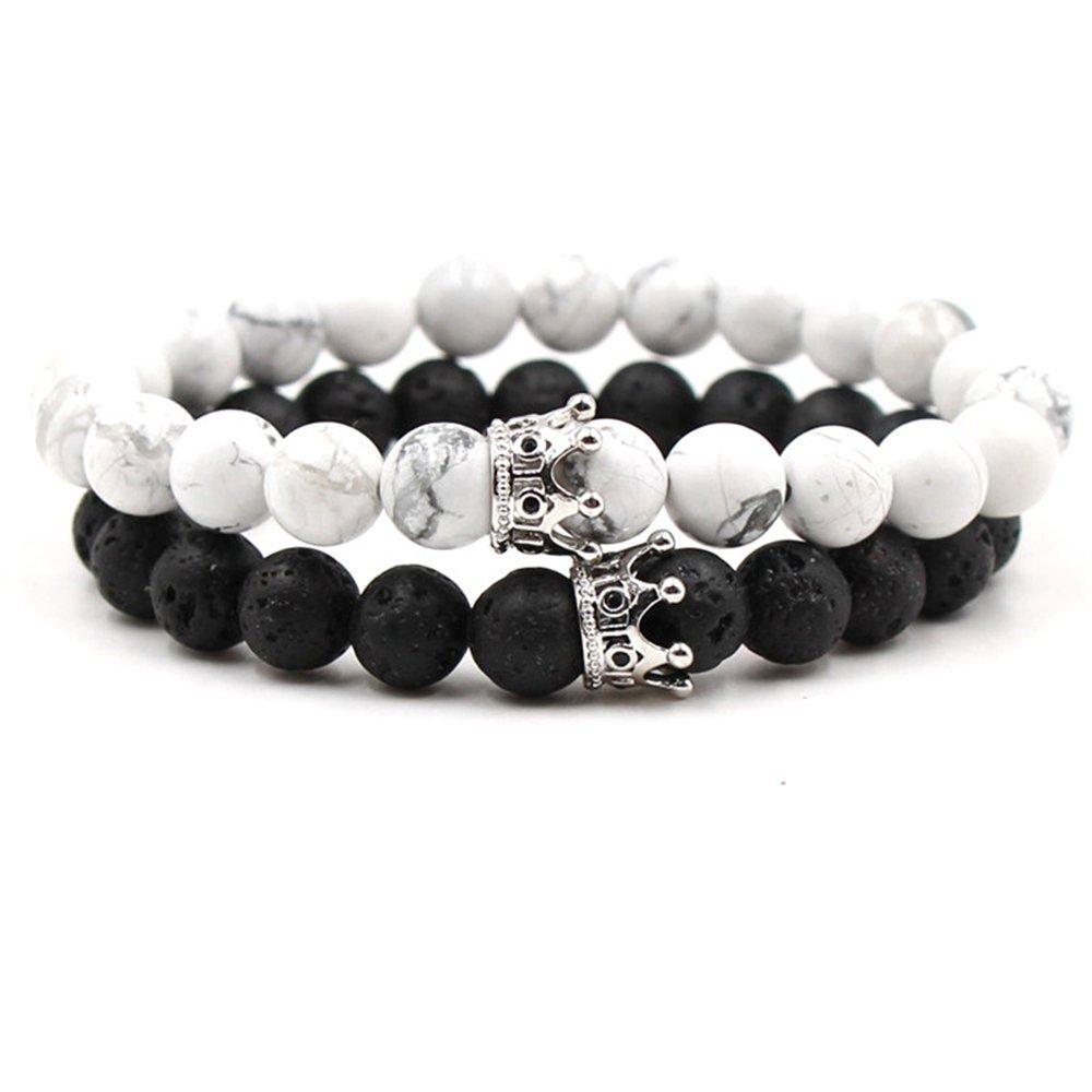 Baroco 2pcs/lot Natural Stone Crown Beads Bracelet Color Stretch Bead Bracelets Couple Jewelry