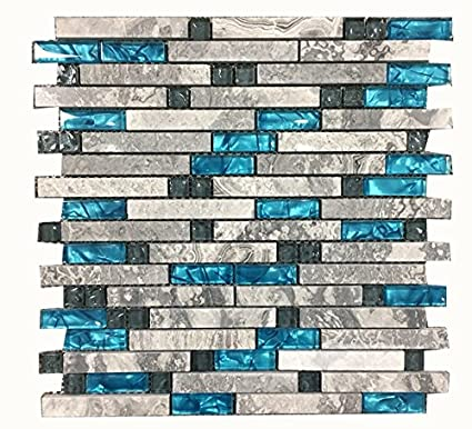 Ocean Blue Glass Nature Stone Tile Kitchen Backsplash 3d Bath Shower
