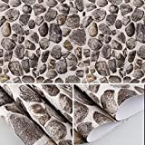 HOMFA Wallpaper 28.52 square feet, Self-adhesive Easy to Peel and Stick, Removable and Waterproof, for Livingroom, Bedroom, Home Wall Decor, Faux Fortress Stone, 20.9''x16.4 feet