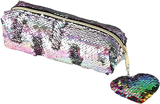 Haarball zweifarbige Pailletten Schreibwaren Federmäppchen Plüsch Kosmetiktasche